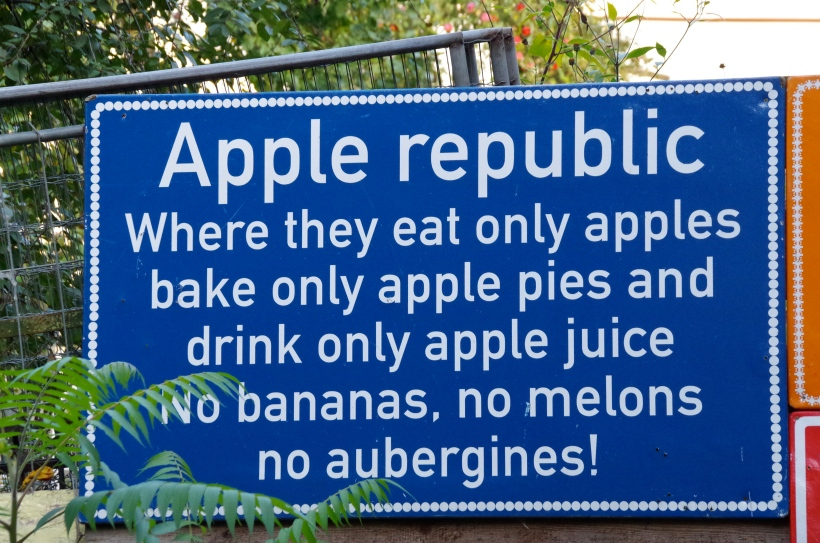 We only eat apples……….